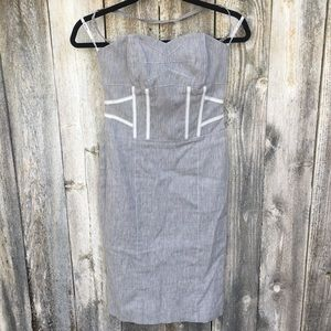 Bebe Strapless Halter Midi Dress
